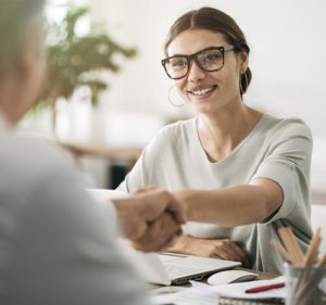 Woman with client